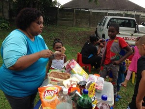 party time with lots of eats for the children
