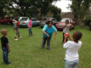 catch the ball with Teacher  Salo in the centre