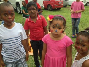 Sunday School children with painted faces